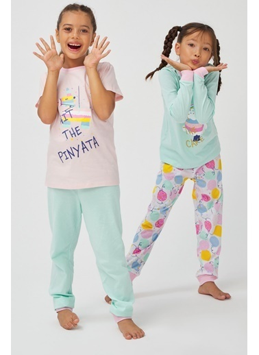 Penti Kız Çocuk Çok Renkli Pınyata 4'lü Pijama Takım PN578M0520SK Renkli